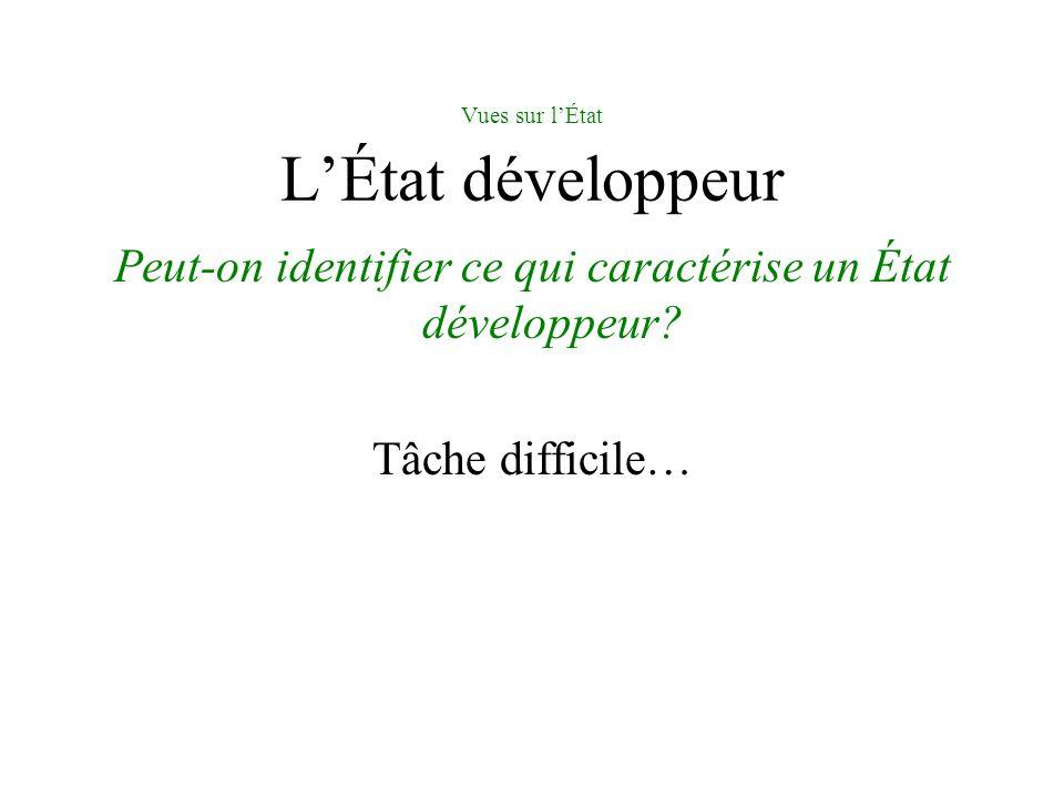 Vues sur lÉtat LÉtat développeur Peut-on identifier ce qui caractérise un État développeur? Tâche difficile…