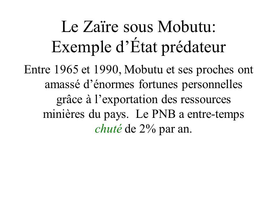 Le Zaïre sous Mobutu: Exemple dÉtat prédateur Entre 1965 et 1990, Mobutu et ses proches ont amassé dénormes fortunes personnelles grâce à lexportation des ressources minières du pays.