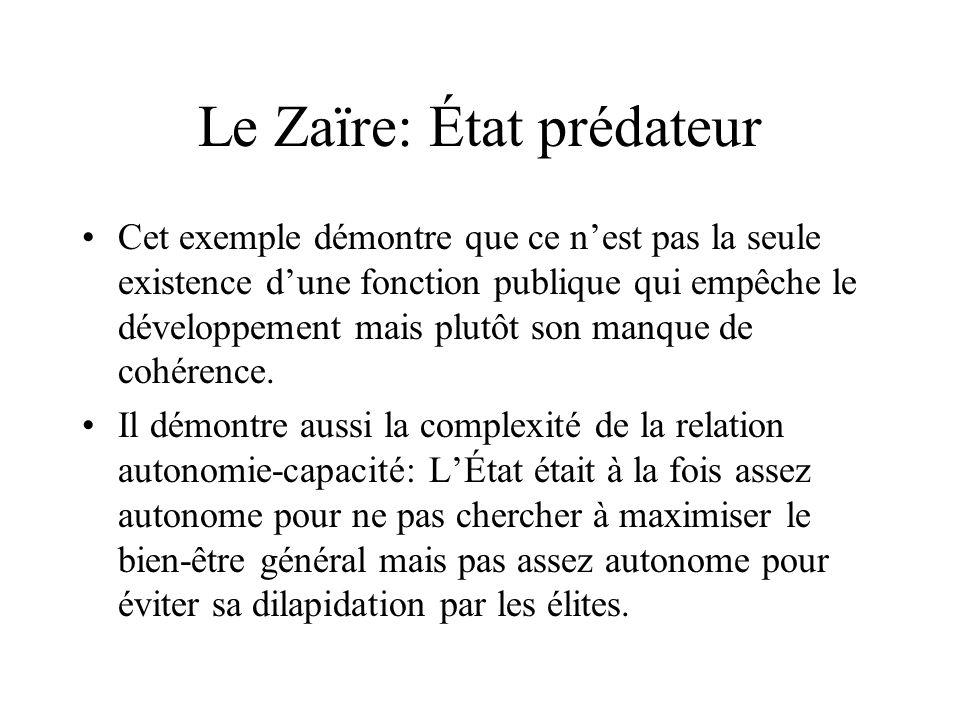 Le Zaïre: État prédateur Cet exemple démontre que ce nest pas la seule existence dune fonction publique qui empêche le développement mais plutôt son manque de cohérence.