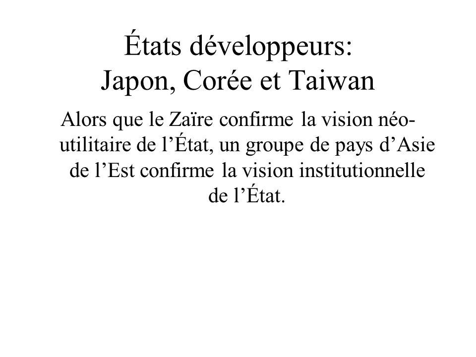 États développeurs: Japon, Corée et Taiwan Alors que le Zaïre confirme la vision néo- utilitaire de lÉtat, un groupe de pays dAsie de lEst confirme la vision institutionnelle de lÉtat.