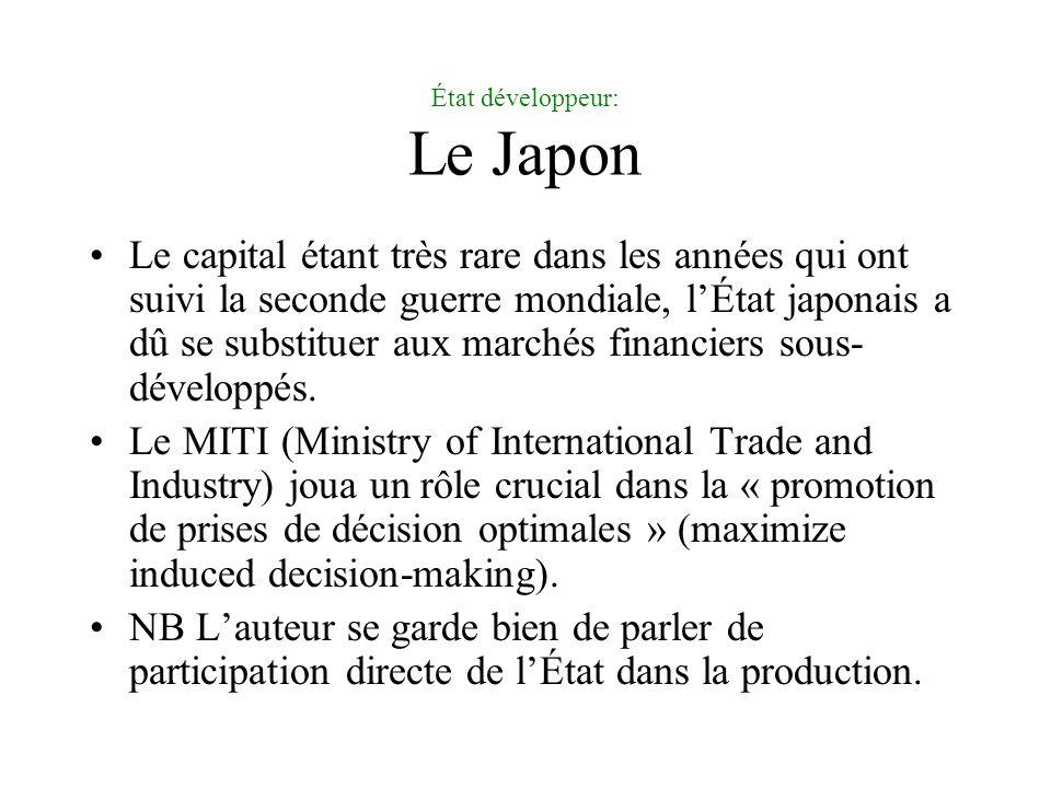 État développeur: Le Japon Le capital étant très rare dans les années qui ont suivi la seconde guerre mondiale, lÉtat japonais a dû se substituer aux marchés financiers sous- développés.