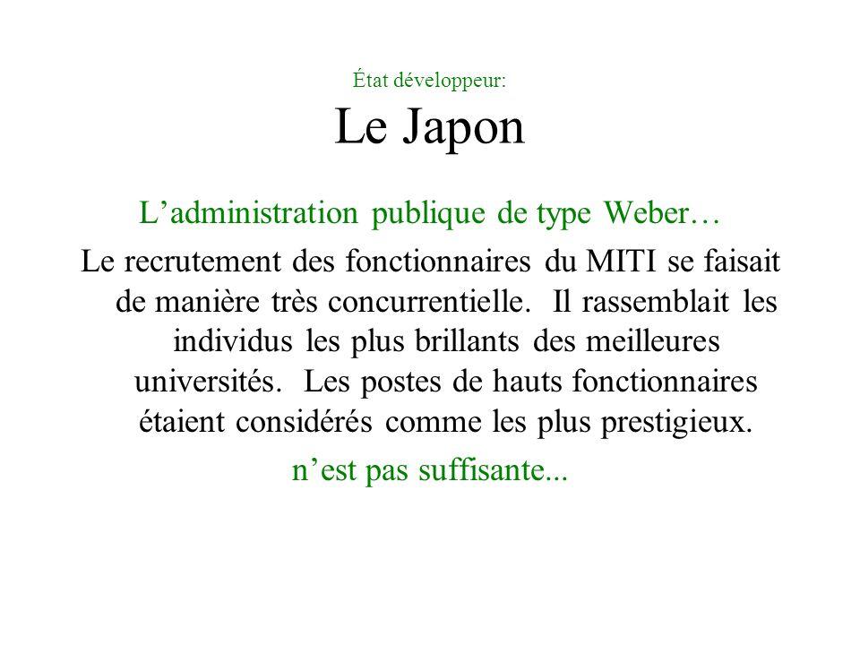 État développeur: Le Japon Ladministration publique de type Weber… Le recrutement des fonctionnaires du MITI se faisait de manière très concurrentielle.