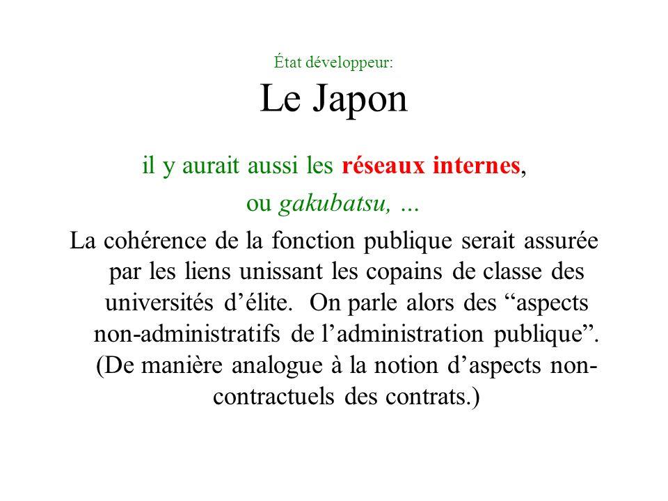 État développeur: Le Japon il y aurait aussi les réseaux internes, ou gakubatsu, … La cohérence de la fonction publique serait assurée par les liens u