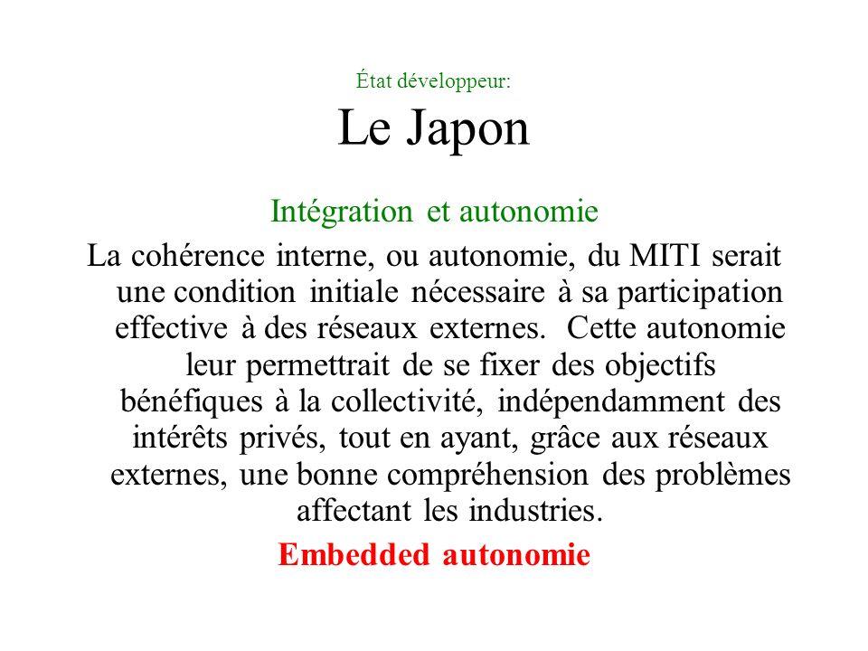 État développeur: Le Japon Intégration et autonomie La cohérence interne, ou autonomie, du MITI serait une condition initiale nécessaire à sa participation effective à des réseaux externes.