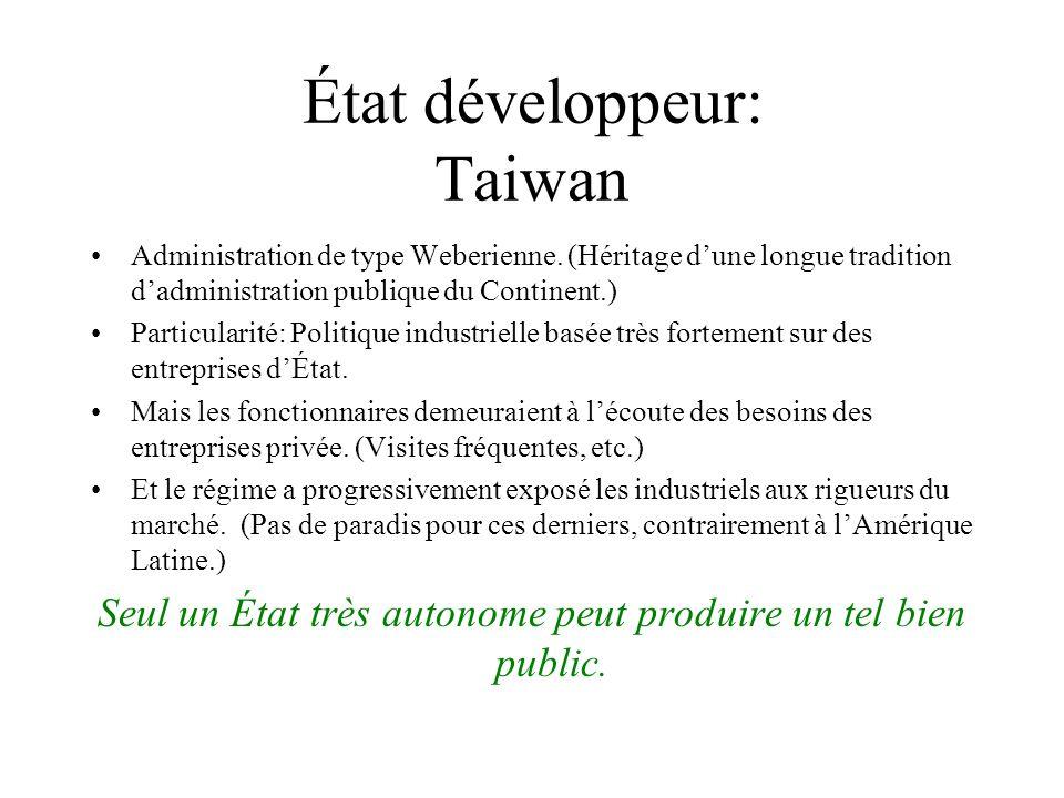 État développeur: Taiwan Administration de type Weberienne. (Héritage dune longue tradition dadministration publique du Continent.) Particularité: Pol