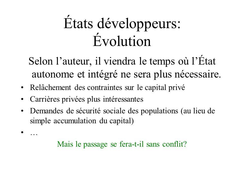 États développeurs: Évolution Selon lauteur, il viendra le temps où lÉtat autonome et intégré ne sera plus nécessaire. Relâchement des contraintes sur