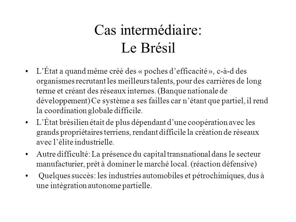 Cas intermédiaire: Le Brésil LÉtat a quand même créé des « poches defficacité », c-à-d des organismes recrutant les meilleurs talents, pour des carrières de long terme et créant des réseaux internes.