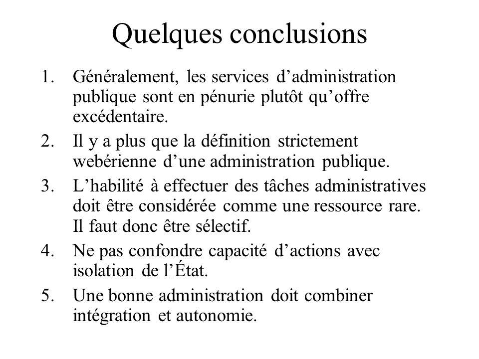 Quelques conclusions 1.Généralement, les services dadministration publique sont en pénurie plutôt quoffre excédentaire.