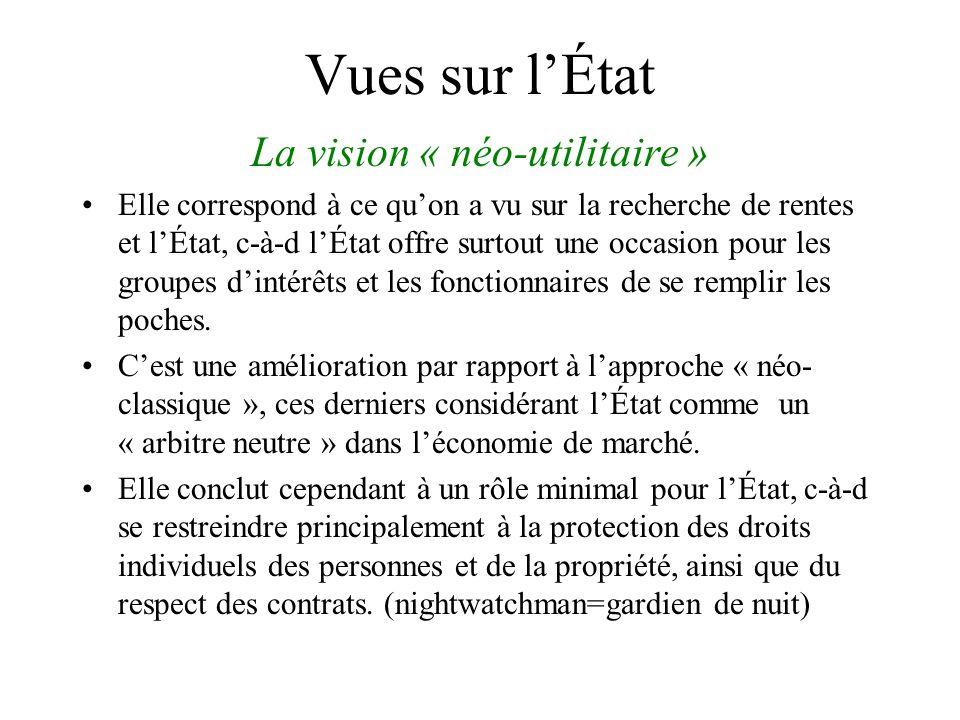Vues sur lÉtat La vision « néo-utilitaire » Elle correspond à ce quon a vu sur la recherche de rentes et lÉtat, c-à-d lÉtat offre surtout une occasion