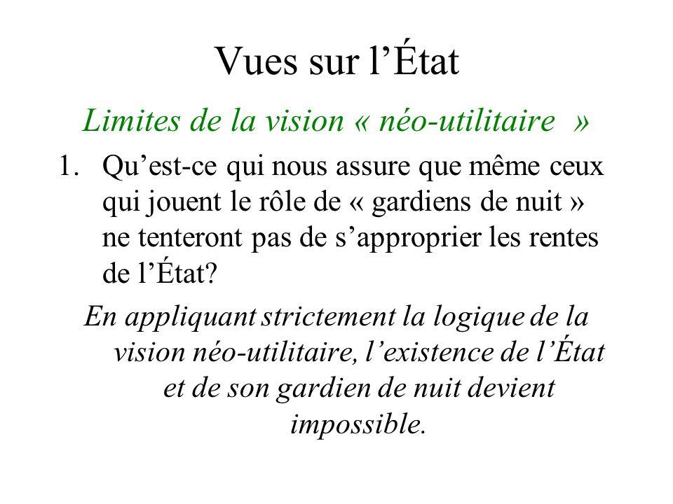 Vues sur lÉtat Limites de la vision « néo-utilitaire » 1.Quest-ce qui nous assure que même ceux qui jouent le rôle de « gardiens de nuit » ne tenteront pas de sapproprier les rentes de lÉtat.