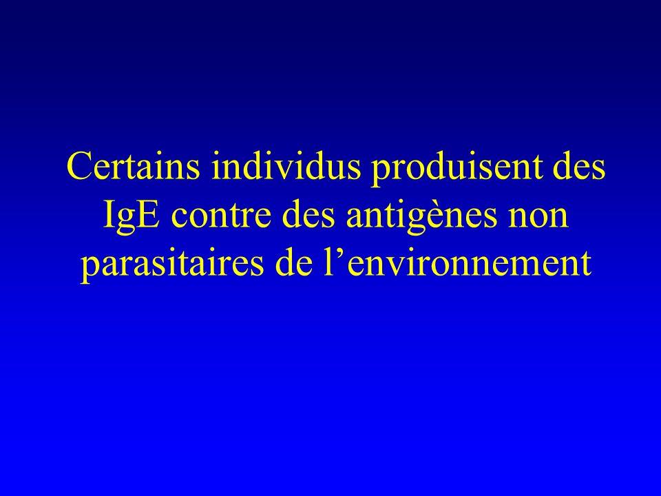 Certains individus produisent des IgE contre des antigènes non parasitaires de lenvironnement