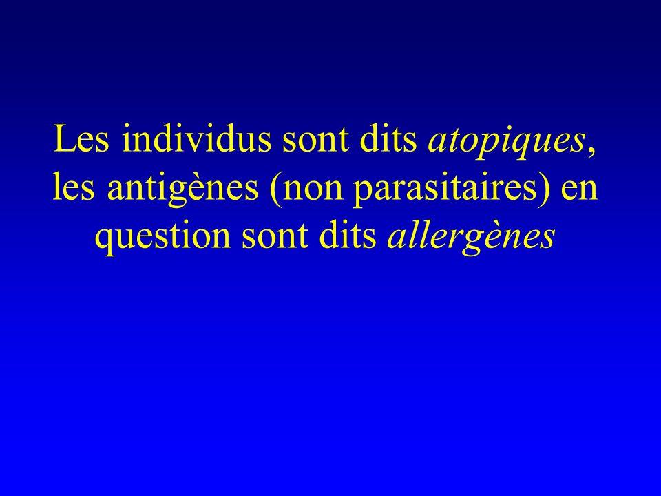 Les individus sont dits atopiques, les antigènes (non parasitaires) en question sont dits allergènes