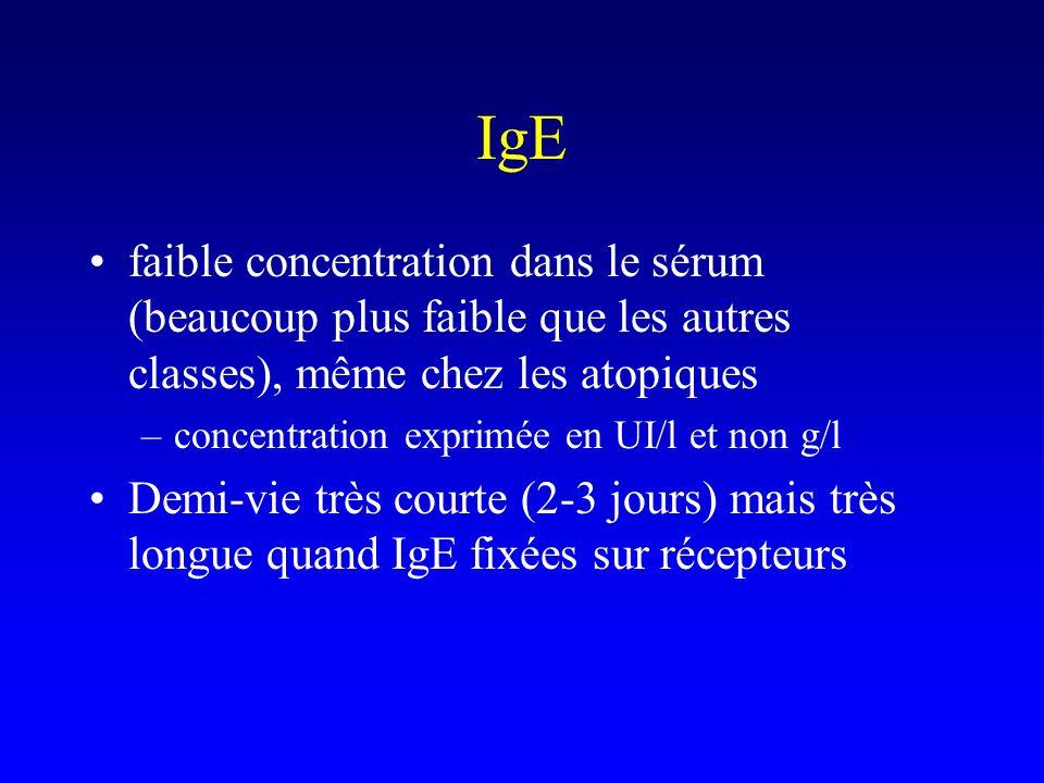 faible concentration dans le sérum (beaucoup plus faible que les autres classes), même chez les atopiques –concentration exprimée en UI/l et non g/l D