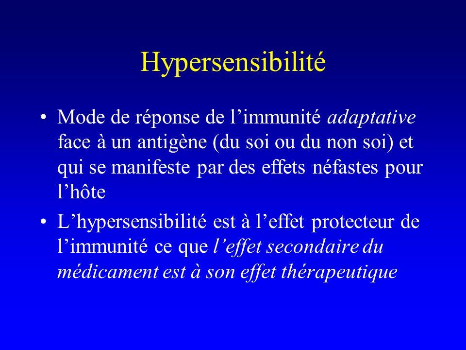Hypersensibilité Mode de réponse de limmunité adaptative face à un antigène (du soi ou du non soi) et qui se manifeste par des effets néfastes pour lhôte Lhypersensibilité est à leffet protecteur de limmunité ce que leffet secondaire du médicament est à son effet thérapeutique