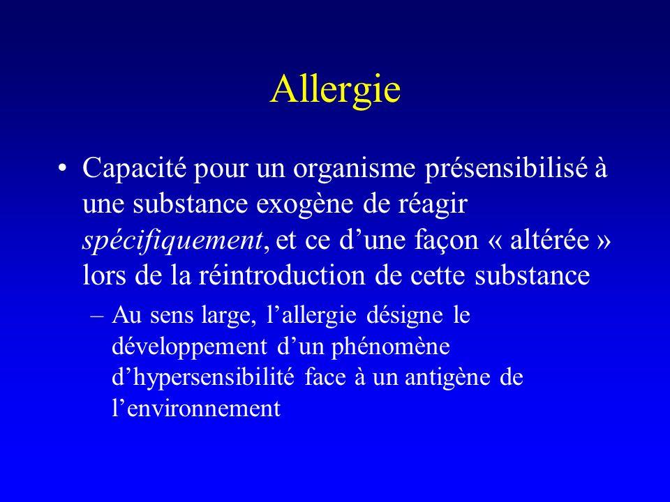 Allergie Capacité pour un organisme présensibilisé à une substance exogène de réagir spécifiquement, et ce dune façon « altérée » lors de la réintroduction de cette substance –Au sens large, lallergie désigne le développement dun phénomène dhypersensibilité face à un antigène de lenvironnement