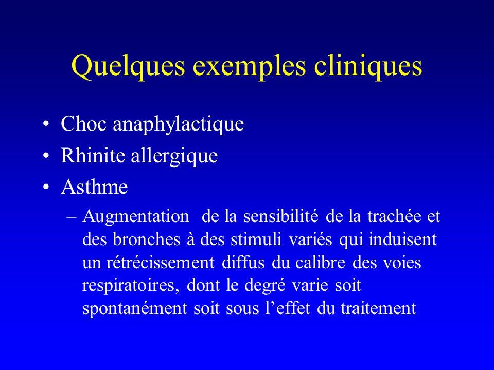 Quelques exemples cliniques Choc anaphylactique Rhinite allergique Asthme –Augmentation de la sensibilité de la trachée et des bronches à des stimuli variés qui induisent un rétrécissement diffus du calibre des voies respiratoires, dont le degré varie soit spontanément soit sous leffet du traitement