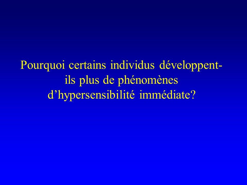 Pourquoi certains individus développent- ils plus de phénomènes dhypersensibilité immédiate?