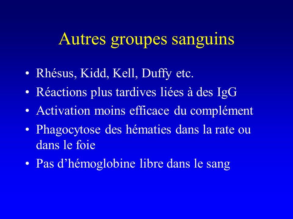 Autres groupes sanguins Rhésus, Kidd, Kell, Duffy etc. Réactions plus tardives liées à des IgG Activation moins efficace du complément Phagocytose des
