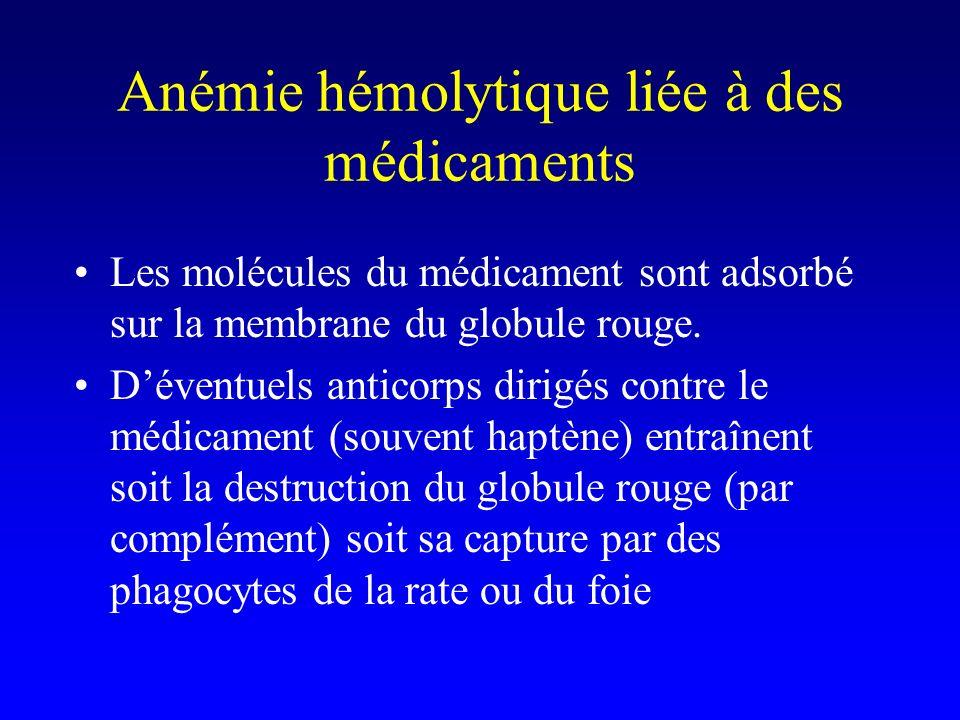 Anémie hémolytique liée à des médicaments Les molécules du médicament sont adsorbé sur la membrane du globule rouge.
