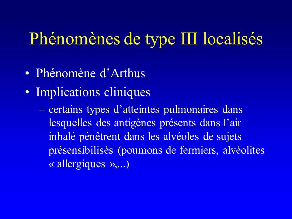 Phénomènes de type III localisés Phénomène dArthus Implications cliniques –certains types datteintes pulmonaires dans lesquelles des antigènes présents dans lair inhalé pénêtrent dans les alvéoles de sujets présensibilisés (poumons de fermiers, alvéolites « allergiques »,...)