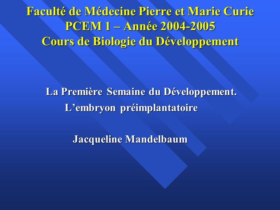 Faculté de Médecine Pierre et Marie Curie PCEM 1 – Année 2004-2005 Cours de Biologie du Développement La Première Semaine du Développement. La Premièr