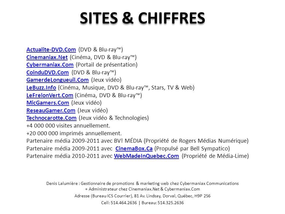 CONCOURS Denis Lalumière : Gestionnaire de promotions & marketing web chez Cybermaniax Communications + Administrateur chez Cinemaniax.Net & Cybermaniax.Com Adresse (Bureau ICS Courrier), 81 Av.