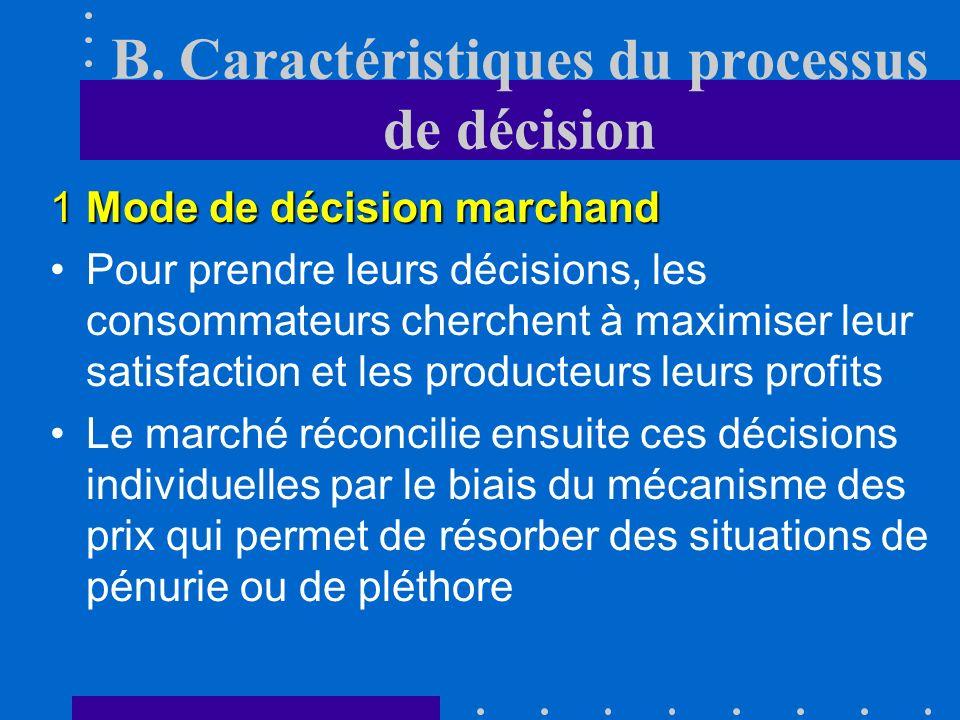 B. Caractéristiques du processus de décision 1Mode de décision marchand décentraliséimpersonnelProcessus décentralisé et impersonnel choix manière ind