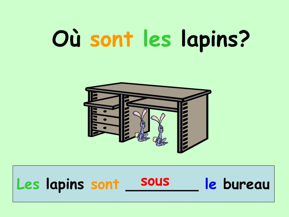 Où sont les lapins? Les lapins sont ________ le bureau sous