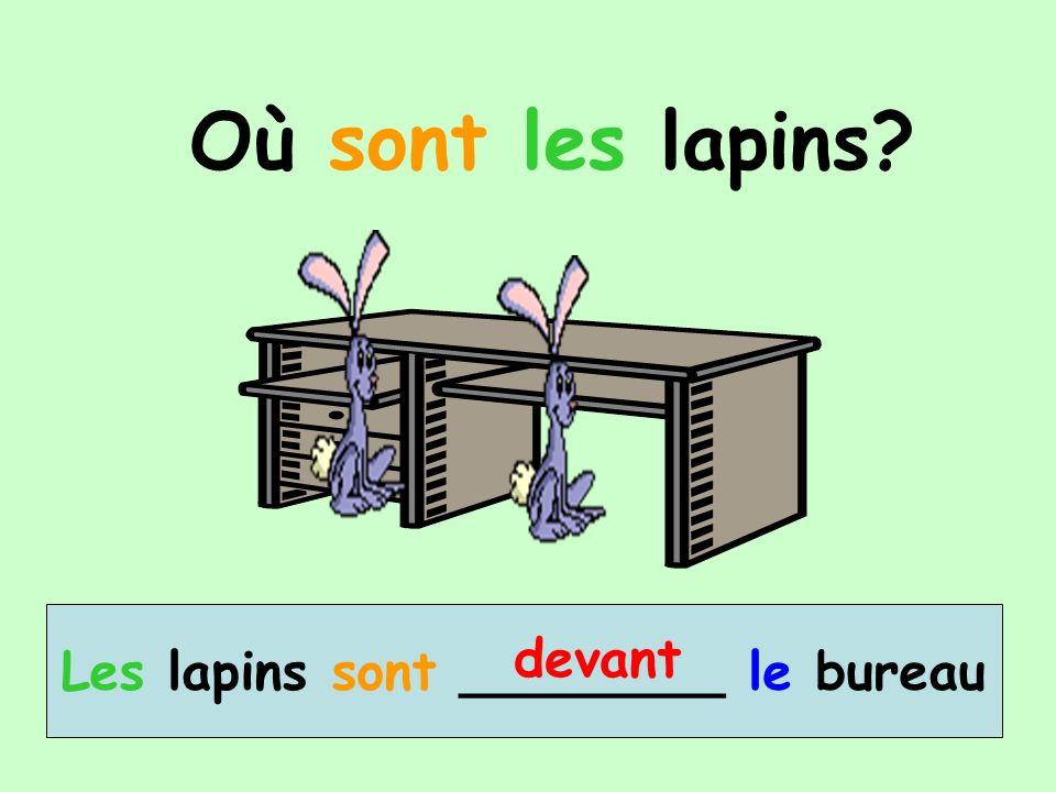 Où sont les lapins? Les lapins sont ________ le bureau devant