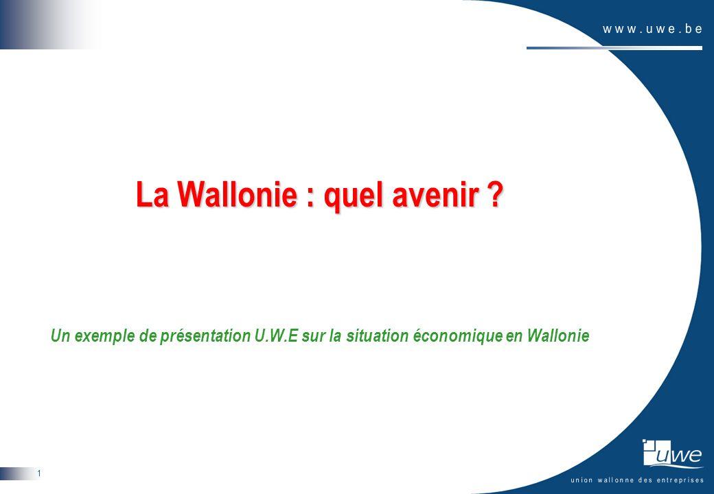 1 La Wallonie : quel avenir ? Un exemple de présentation U.W.E sur la situation économique en Wallonie