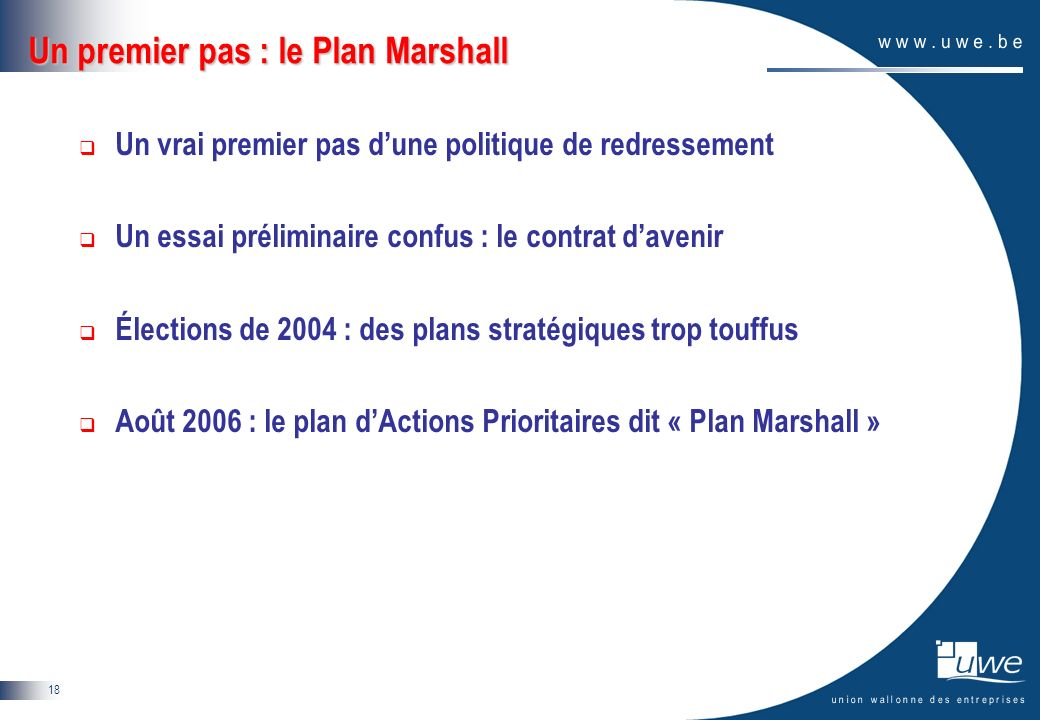 18 Un premier pas : le Plan Marshall Un vrai premier pas dune politique de redressement Un essai préliminaire confus : le contrat davenir Élections de 2004 : des plans stratégiques trop touffus Août 2006 : le plan dActions Prioritaires dit « Plan Marshall »