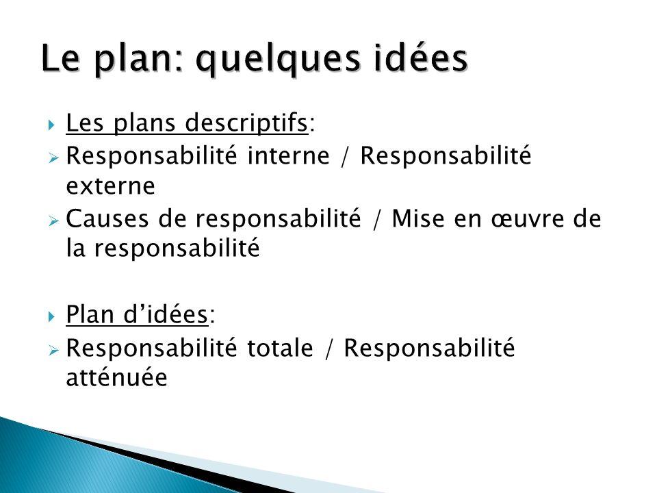 Les plans descriptifs: Responsabilité interne / Responsabilité externe Causes de responsabilité / Mise en œuvre de la responsabilité Plan didées: Resp