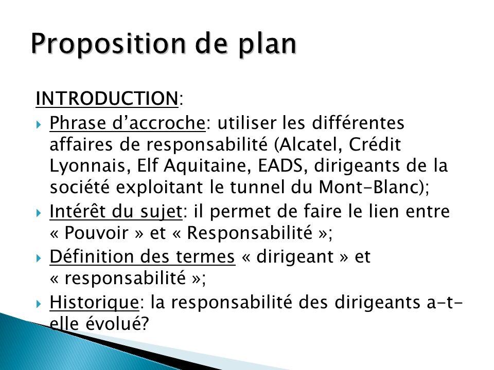 INTRODUCTION: Phrase daccroche: utiliser les différentes affaires de responsabilité (Alcatel, Crédit Lyonnais, Elf Aquitaine, EADS, dirigeants de la s