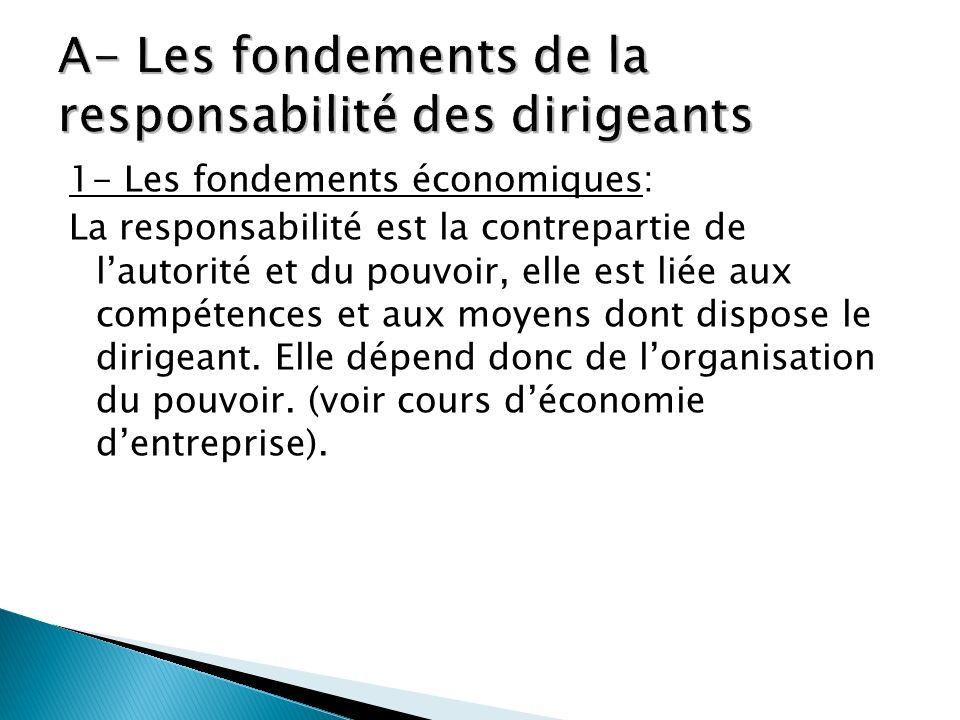1- Les fondements économiques: La responsabilité est la contrepartie de lautorité et du pouvoir, elle est liée aux compétences et aux moyens dont disp