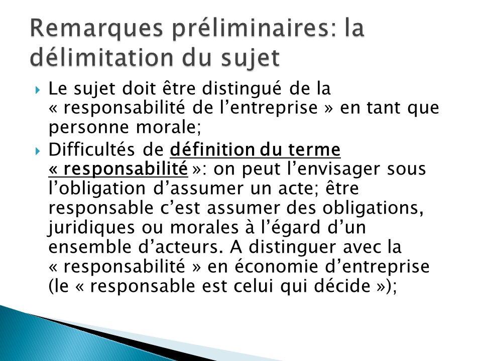Le sujet doit être distingué de la « responsabilité de lentreprise » en tant que personne morale; Difficultés de définition du terme « responsabilité