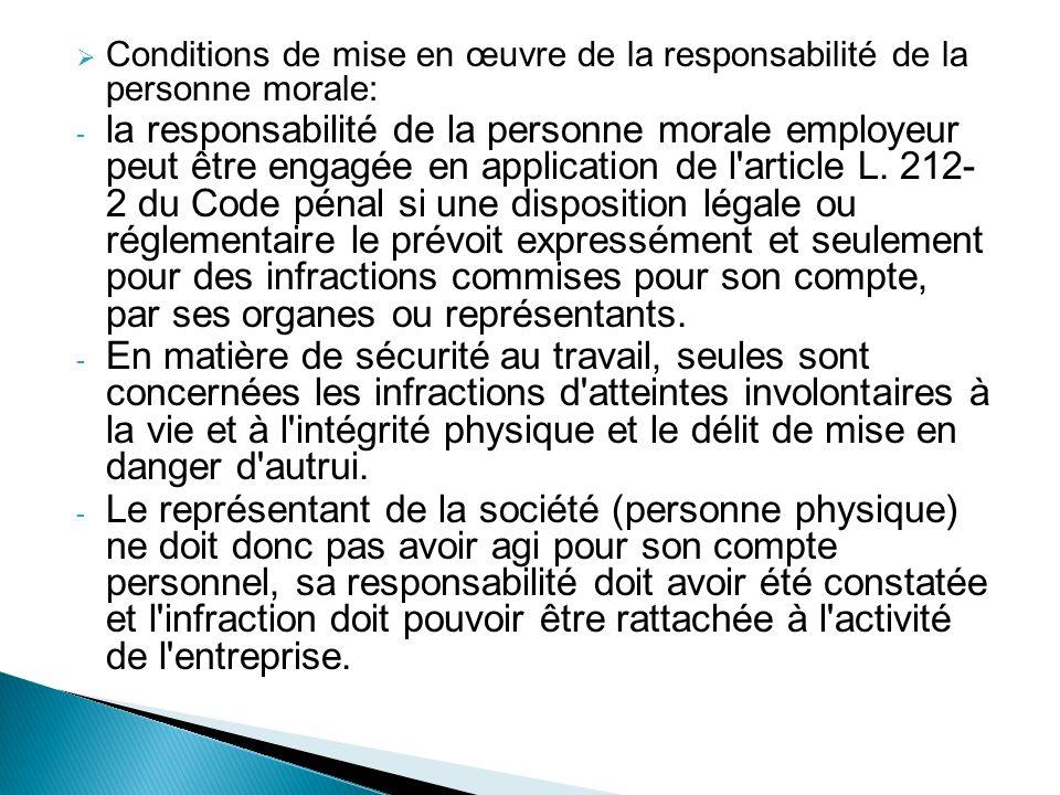 Conditions de mise en œuvre de la responsabilité de la personne morale: - la responsabilité de la personne morale employeur peut être engagée en appli