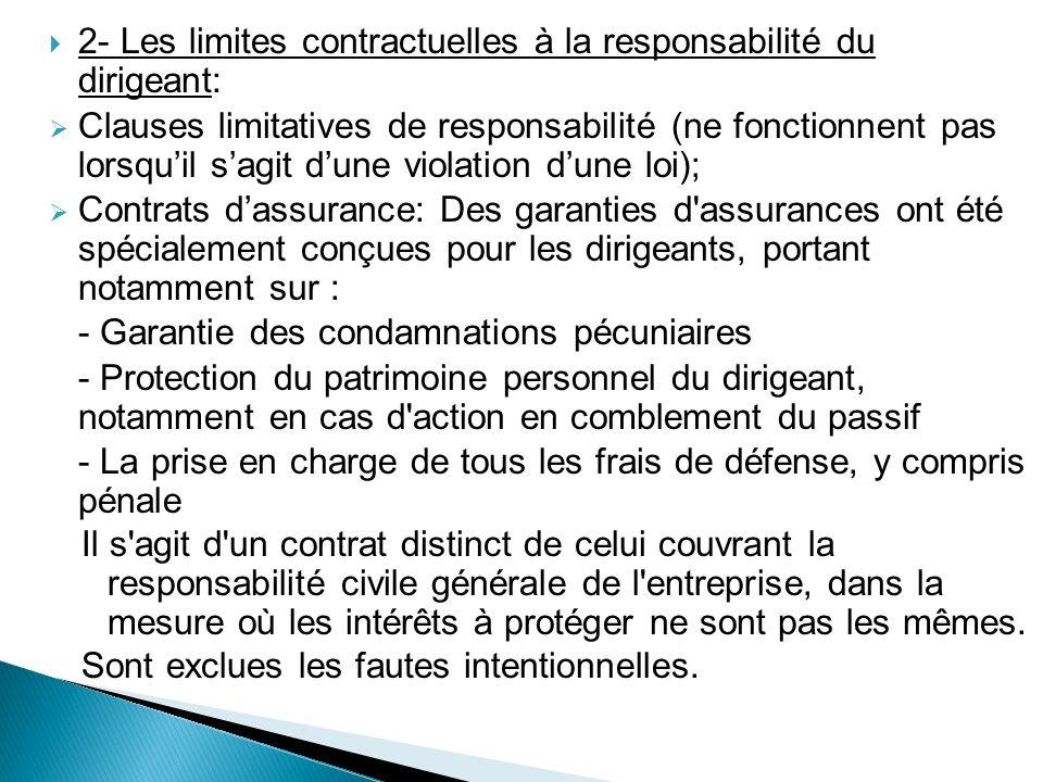 2- Les limites contractuelles à la responsabilité du dirigeant: Clauses limitatives de responsabilité (ne fonctionnent pas lorsquil sagit dune violati