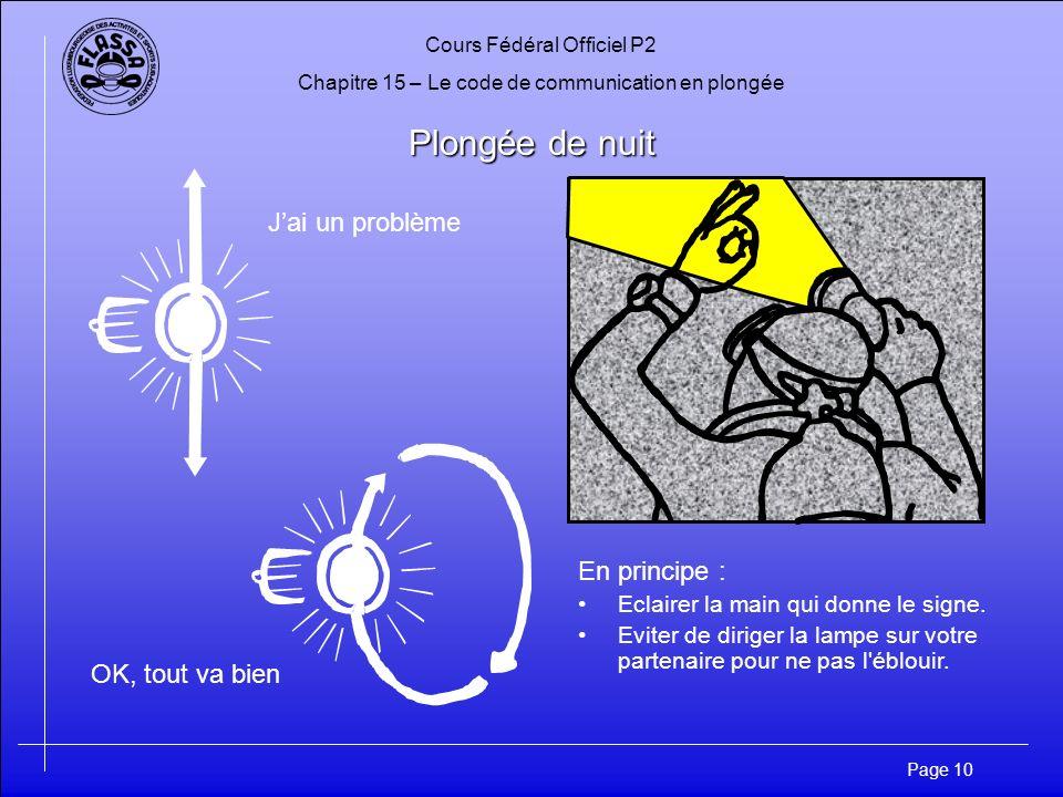 Cours Fédéral Officiel P2 Chapitre 15 – Le code de communication en plongée Page 10 Plongée de nuit Jai un problème OK, tout va bien En principe : Eclairer la main qui donne le signe.