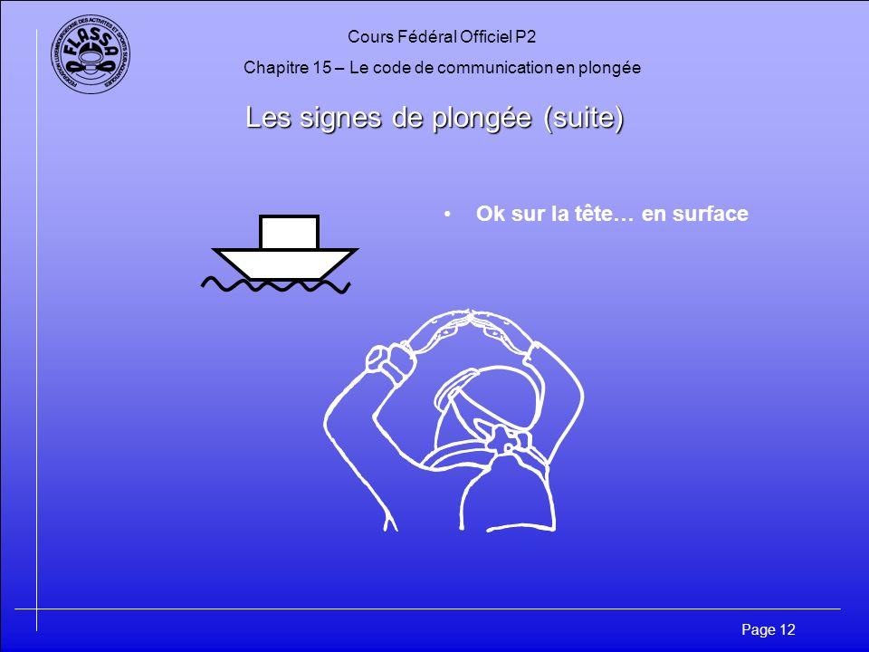 Cours Fédéral Officiel P2 Chapitre 15 – Le code de communication en plongée Page 12 Les signes de plongée (suite) Ok sur la tête… en surface
