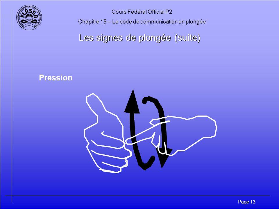Cours Fédéral Officiel P2 Chapitre 15 – Le code de communication en plongée Page 13 Les signes de plongée (suite) Pression