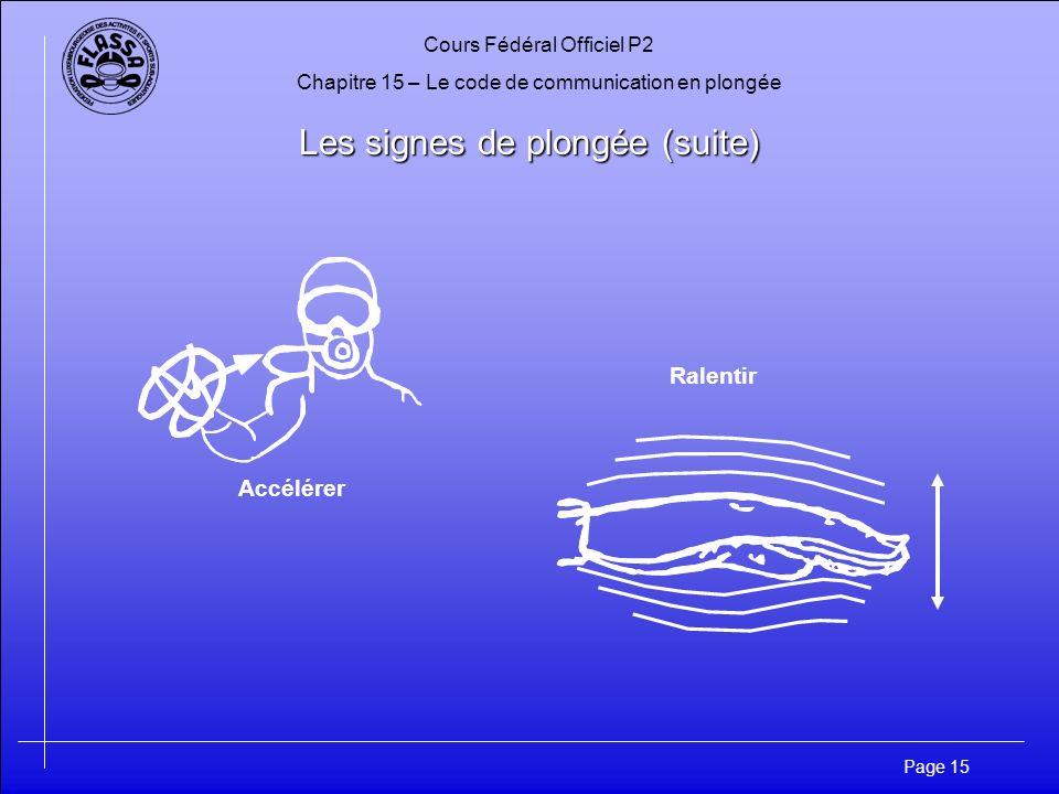 Cours Fédéral Officiel P2 Chapitre 15 – Le code de communication en plongée Page 15 Les signes de plongée (suite) Accélérer Ralentir