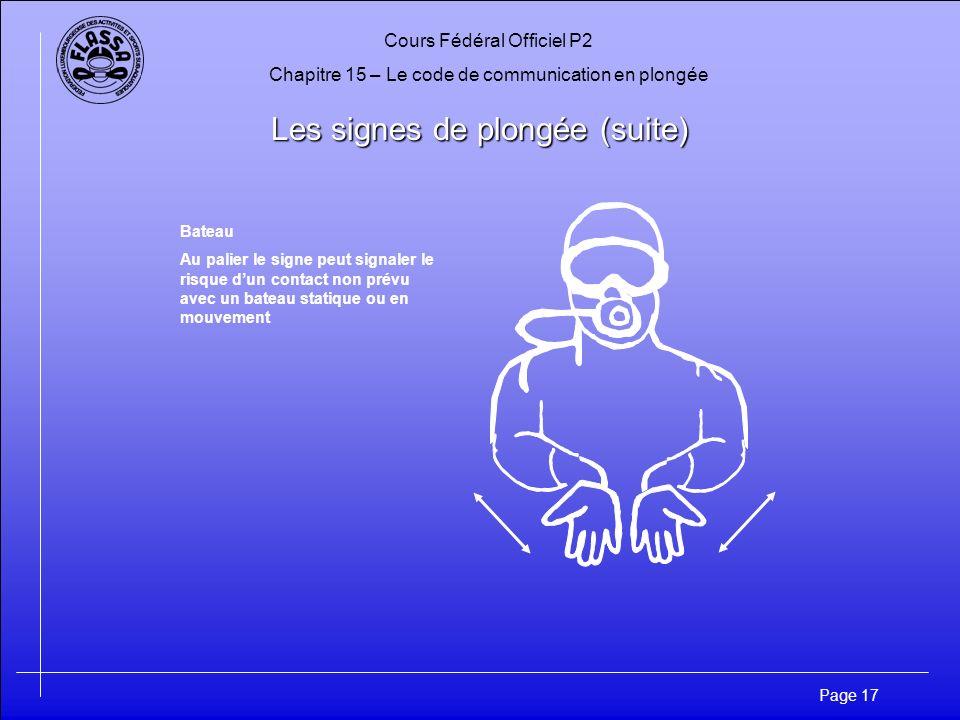 Cours Fédéral Officiel P2 Chapitre 15 – Le code de communication en plongée Page 17 Les signes de plongée (suite) Bateau Au palier le signe peut signa