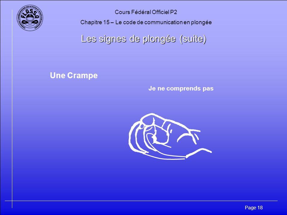 Cours Fédéral Officiel P2 Chapitre 15 – Le code de communication en plongée Page 18 Les signes de plongée (suite) Une Crampe Je ne comprends pas