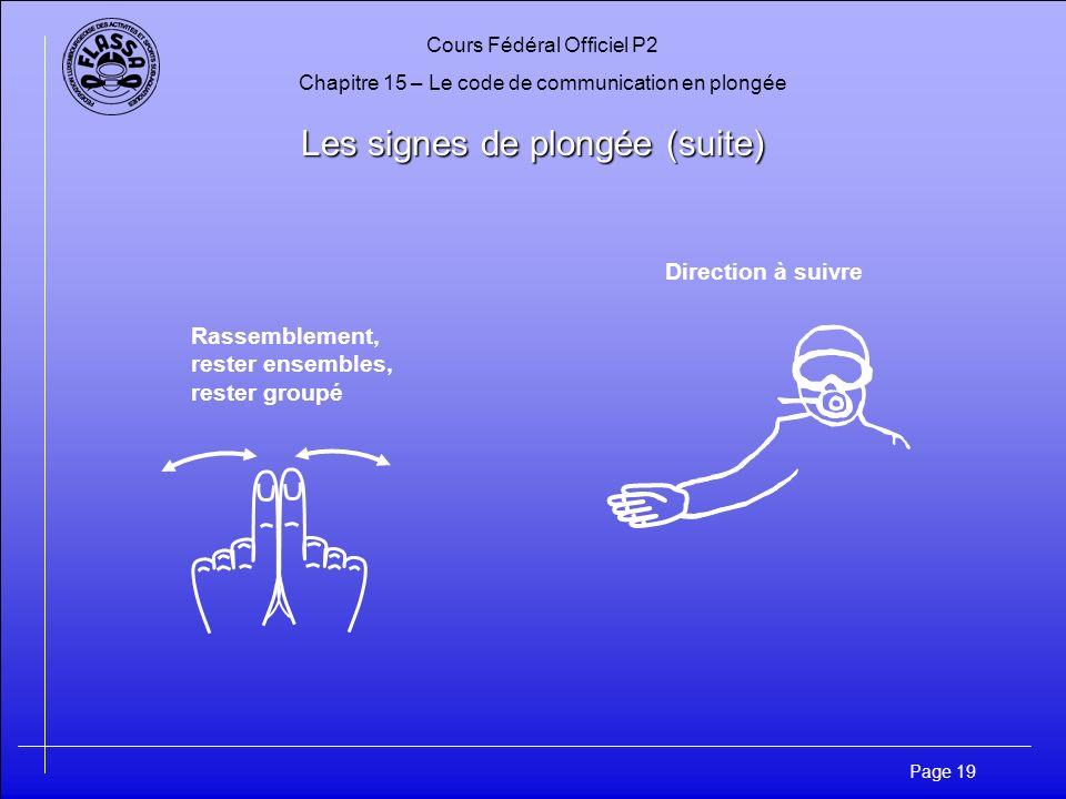 Cours Fédéral Officiel P2 Chapitre 15 – Le code de communication en plongée Page 19 Les signes de plongée (suite) Direction à suivre Rassemblement, re
