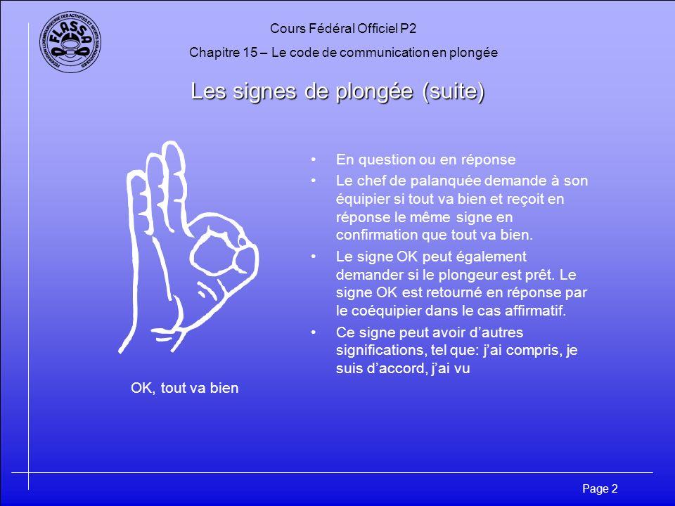 Cours Fédéral Officiel P2 Chapitre 15 – Le code de communication en plongée Page 3 Les signes de plongée (suite) Toi – Moi – Une chose On remonte On descend