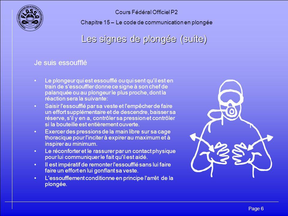 Cours Fédéral Officiel P2 Chapitre 15 – Le code de communication en plongée Page 17 Les signes de plongée (suite) Bateau Au palier le signe peut signaler le risque dun contact non prévu avec un bateau statique ou en mouvement