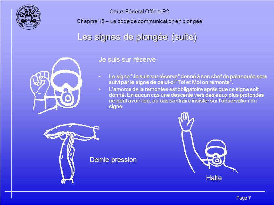 Cours Fédéral Officiel P2 Chapitre 15 – Le code de communication en plongée Page 7 Les signes de plongée (suite) Je suis sur réserve Le signe