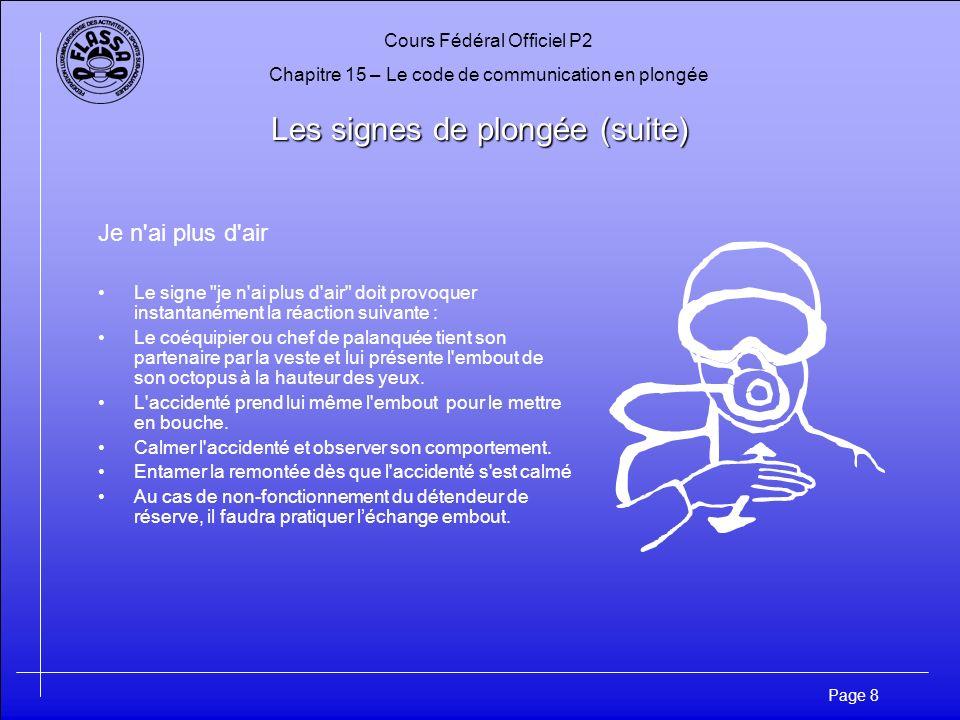 Cours Fédéral Officiel P2 Chapitre 15 – Le code de communication en plongée Page 8 Les signes de plongée (suite) Je n'ai plus d'air Le signe