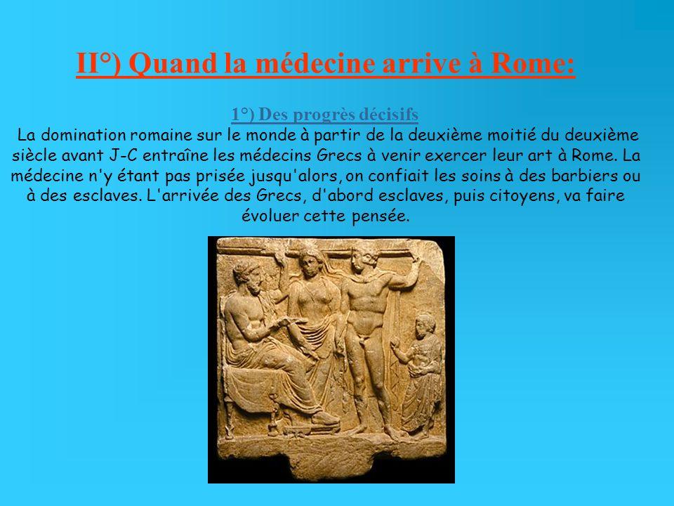 II°) Quand la médecine arrive à Rome: 1°) Des progrès décisifs La domination romaine sur le monde à partir de la deuxième moitié du deuxième siècle av