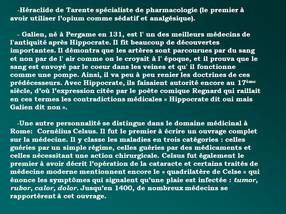 -Héraclide de Tarente spécialiste de pharmacologie (le premier à avoir utiliser lopium comme sédatif et analgésique). - Galien, né à Pergame en 131, e